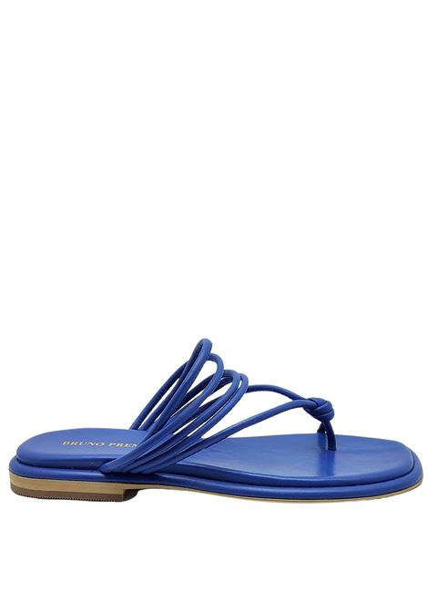 Women's Shoes Flat Flip Flops Sandals in Blue Leather with Straps and Rubber Sole Bruno Premi |  | BB0903X027