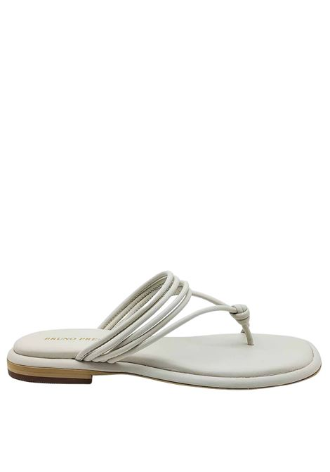 Women's Shoes Flat Flip Flops Sandals in White Leather with Straps and Rubber Sole Bruno Premi | Sandals | BB0903X100