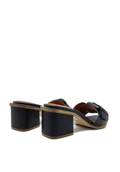 Calzature Donna Sandali Scalzati in Pelle Nera Con Fibbione Laterale di Colore Osso Bruno Premi | Sandali | BB1201X001
