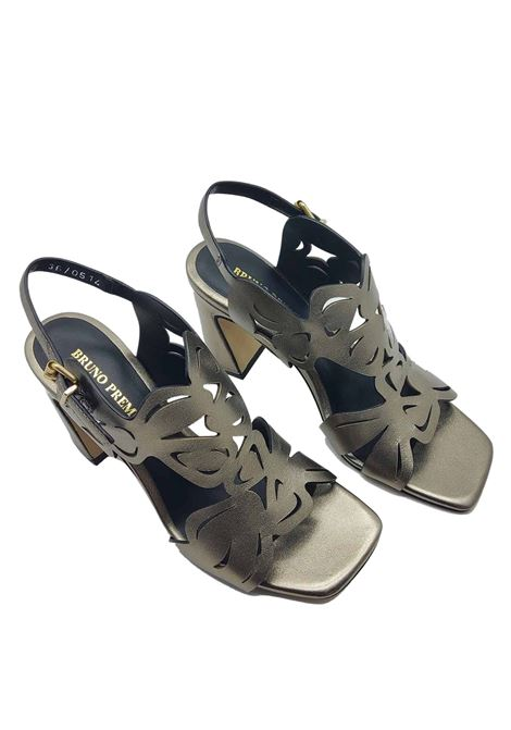 Women's Shoes Sandals in Steel Leather with Lasered Upper and Ankle Strap Bruno Premi | Sandals | BB1504X603