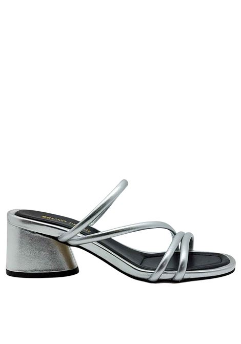 Women's Shoes Sandals in Silver Laminated Leather with Straps and Heel to Match Bruno Premi | Sandals | BB1602X604