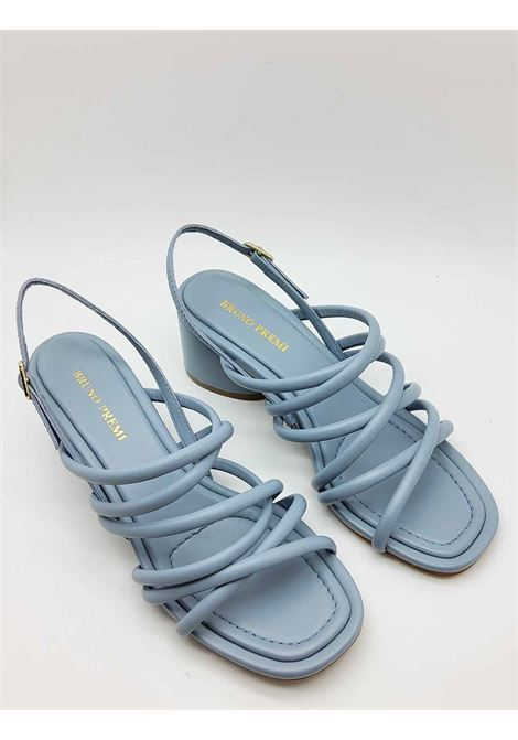 Women's Shoes Light Blue Leather Sandals with Tubular Straps with Back Strap Bruno Premi | Sandals | BB1604X400