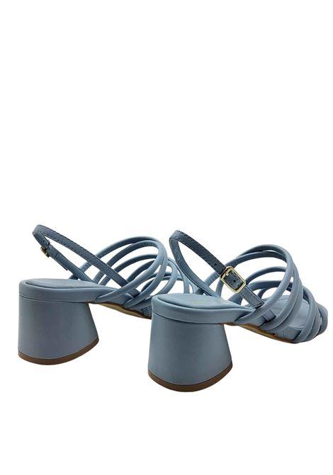 Calzature Donna Sandali in Pelle Celeste a Fascette Tubolari con Cinturino Posteriore Bruno Premi | Sandali | BB1604X400