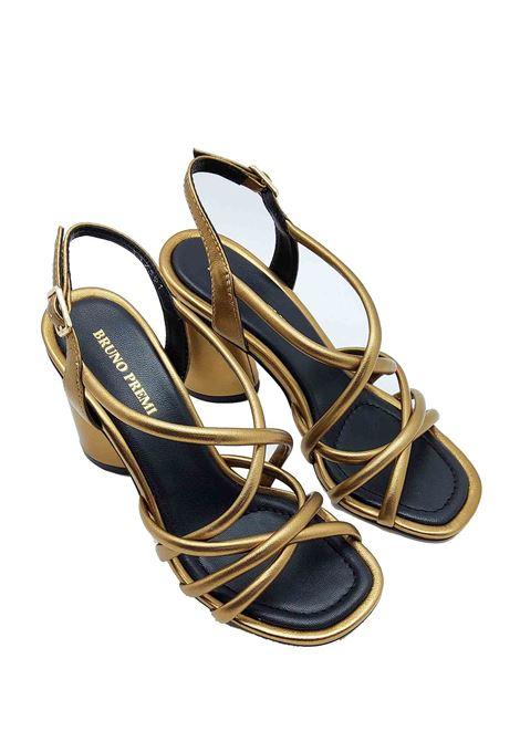 Calzature Donna Sandali in Pelle Laminata Oro con Cinturini sul Collo Piede e Cinturino alla Caviglia Bruno Premi | Sandali | BB1703X602