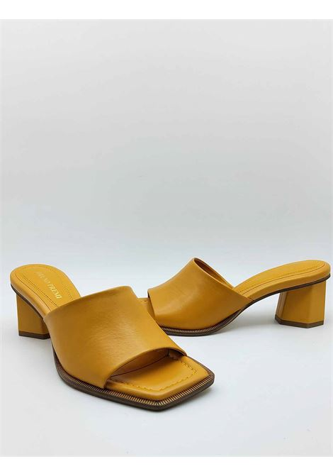 Woman Shoes Barefoot in Mustard Leather with Matching Heel and Square Toe Bruno Premi | Sandals | BB1801X008