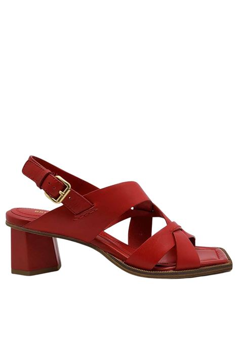 Women's Shoes Red Leather Crossed Sandals with Ankle Strap and Square Toe Bruno Premi | Sandals | BB1804X017