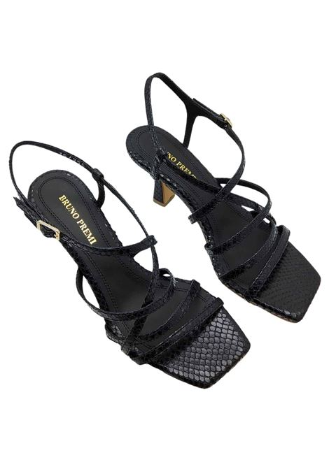 Women's Shoes Black Wips Print Leather Sandals With Ankle Strap and Square Toe Bruno Premi | Sandals | BB2002X001