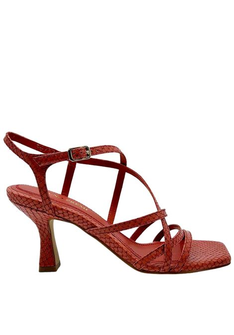 Women's Shoes Red Wips Print Leather Sandals With Ankle Strap and Square Toe Bruno Premi | Sandals | BB2002X604