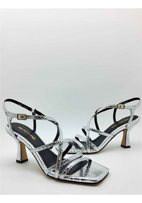 Women's Shoes Sandals in Silver Wips Printed Leather With Ankle Strap and Square Toe Bruno Premi | Sandals | BB2002X6044