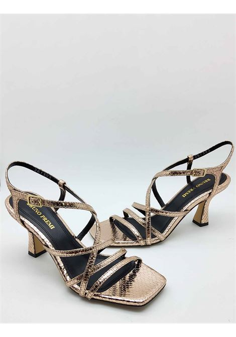 Women's Shoes Copper Wips Print Leather Sandals With Ankle Strap and Square Toe Bruno Premi | Sandals | BB2002X606
