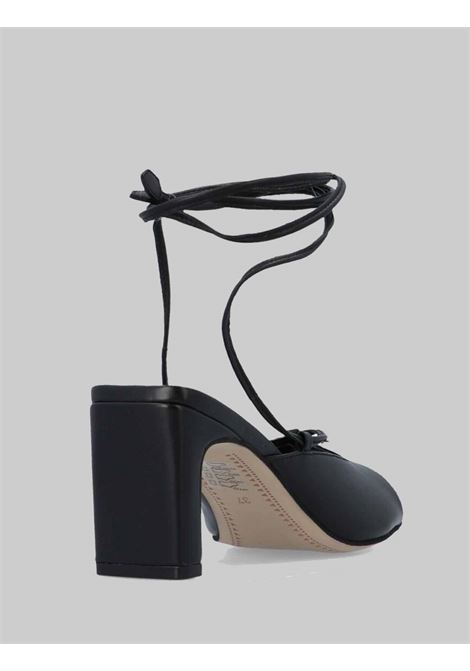 Women's Shoes Black Leather Sandals with Ankle Laces and Square Toe Bruno Premi | Sandals | BB2101X001