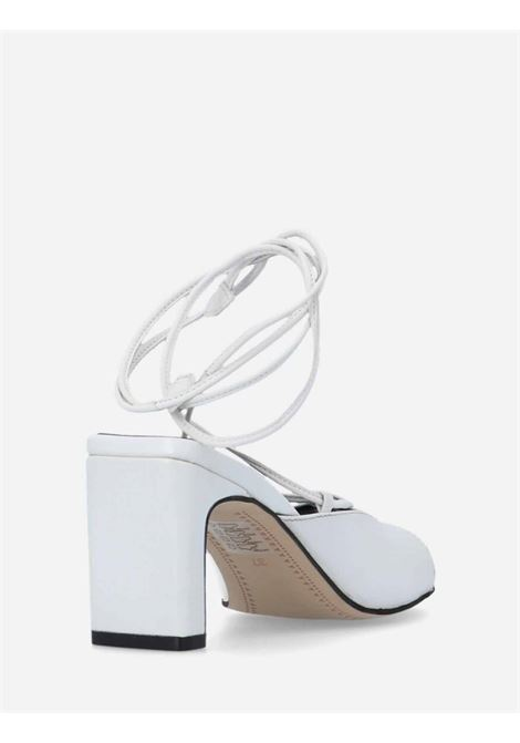 Women's Shoes Cream Leather Sandals with Ankle Laces and Square Toe Bruno Premi | Sandals | BB2101X016