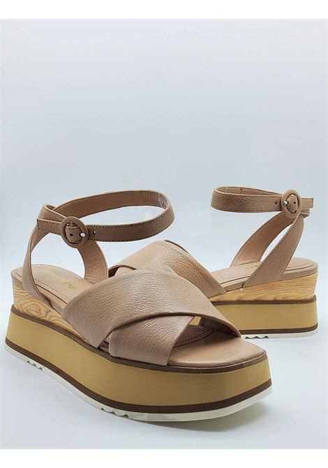 Women's Shoes Sandals in Nude Cross Leather with Ankle Strap and Wooden Wedge Bruno Premi |  | BB2602X014