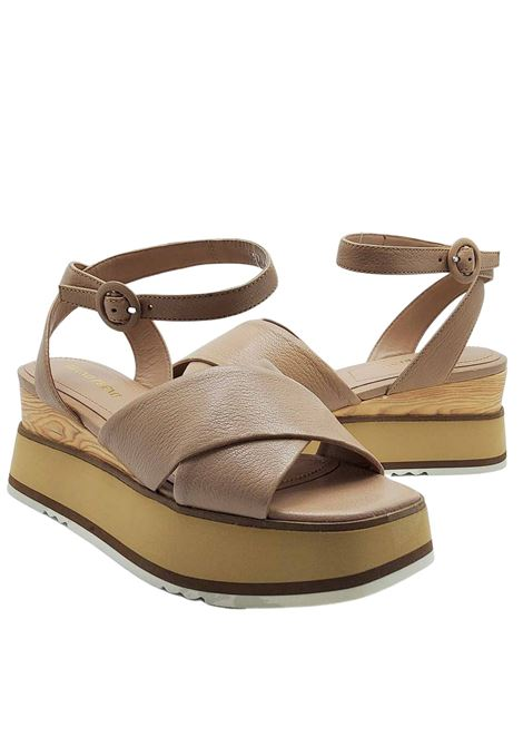 Women's Shoes Sandals in Nude Cross Leather with Ankle Strap and Wooden Wedge Bruno Premi | Wedge Sandals | BB2602X014