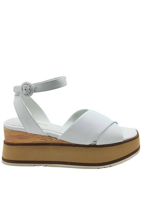 Women's Shoes White Leather Cross Sandals with Ankle Strap and Wooden Wedge Bruno Premi |  | BB2602X100