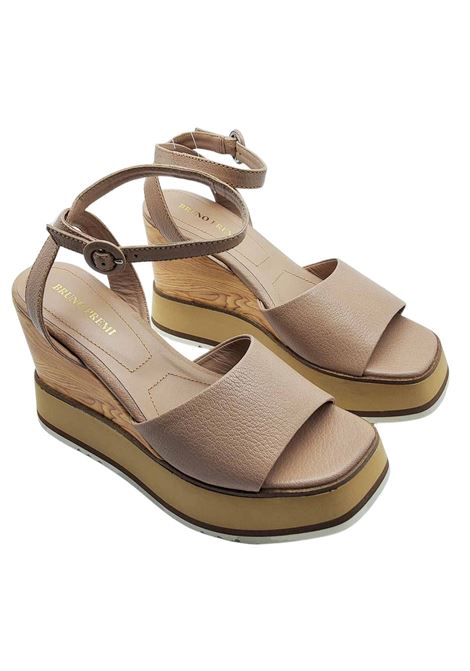 Women's Shoes Sandals with Ankle Strap in Nude Leather and High Wedge Bruno Premi | Wedge Sandals | BB2701X014