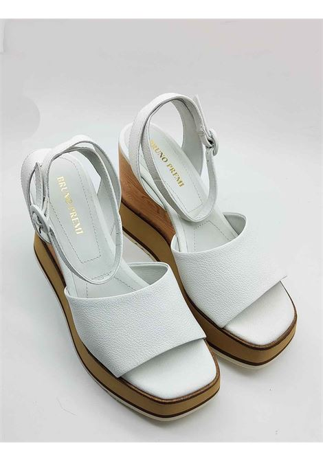 Women's Shoes White Leather Sandals with Ankle Strap and High Wedge Bruno Premi | Sandals | BB2701X100