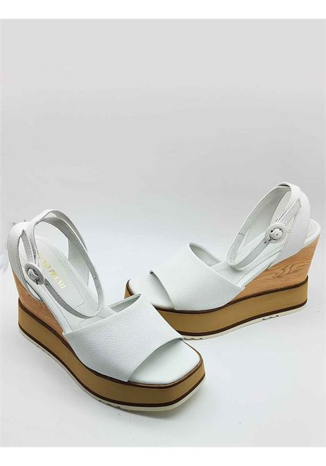 Women's Shoes White Leather Sandals with Ankle Strap and High Wedge Bruno Premi |  | BB2701X100