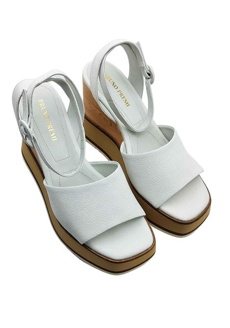 Women's Shoes White Leather Sandals with Ankle Strap and High Wedge Bruno Premi | Wedge Sandals | BB2701X100