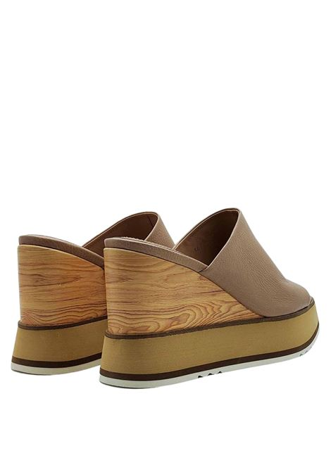 Women's Shoes Barefoot Sandals in Tan Leather with High Wooden Wedge and Rubber Para Bruno Premi | Wedge Sandals | BB2703X014