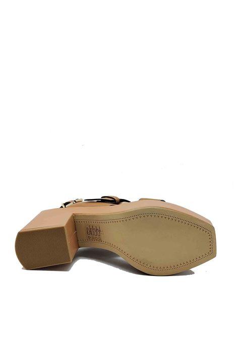 Calzature Donna Sandali in Pelle Cuoio con Fibbia Laterale Cinturino Posteriore e Zeppa Alta Bruno Premi | Sandali Zeppa | BB3002X300
