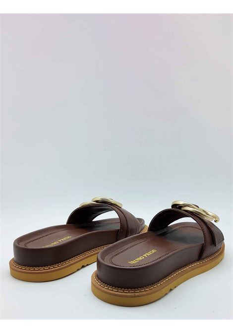 Women's Shoes Low Sandals with Fussbet in Dark Brown Leather with Gold Accessory Bruno Premi | Sandals | BB3202X013