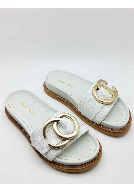 Women's Shoes Low Sandals with Fussbet in White Leather with Gold Accessory Bruno Premi | Sandals | BB3202X100