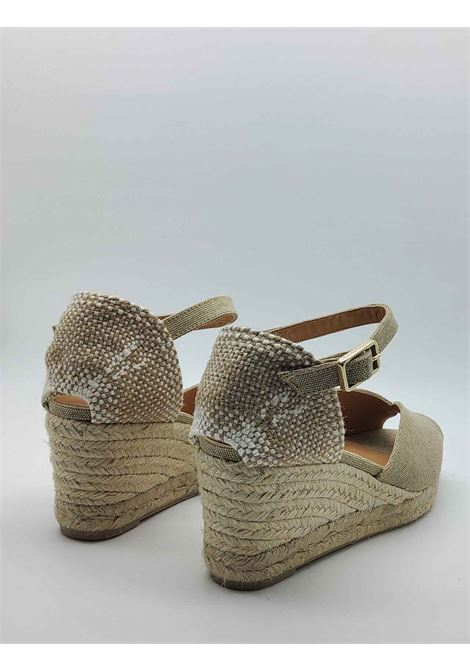 Women's Shoes Sandals Espadrilles in Beige Canvas with Ankle Strap and Low Wedge in Rope Castaner | Sandals | BIANCA016