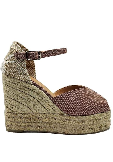 Women's Shoes Sandals Espadrilles in Pink Canvas with Ankle Strap and High Wedge in Rope Castaner | Sandals | BIANCA300