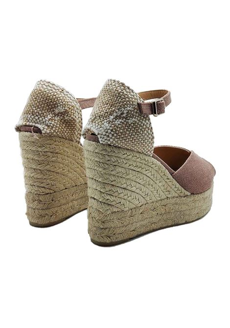 Women's Shoes Sandals Espadrilles in Pink Canvas with Ankle Strap and High Wedge in Rope Castaner | Wedge Sandals | BIANCA300