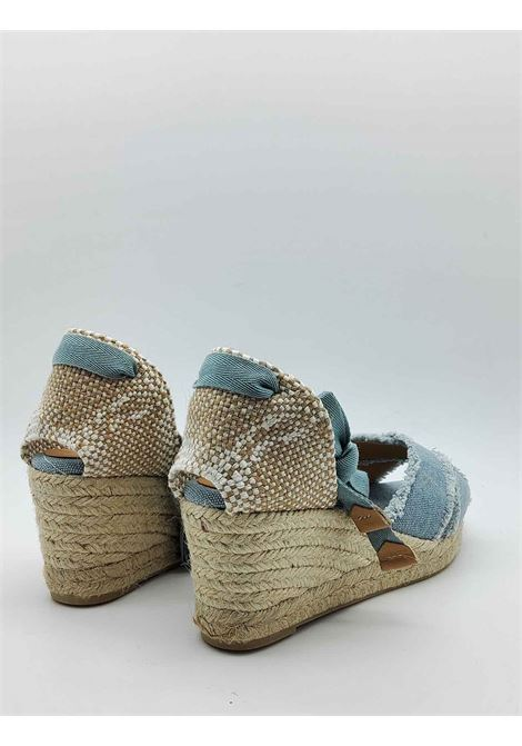 Women's Shoes Sandals Espadrilles in Light Blue Canvas with Laces at the Ankle and Low Wedge in Rope Castaner | Sandals | BLUMA003