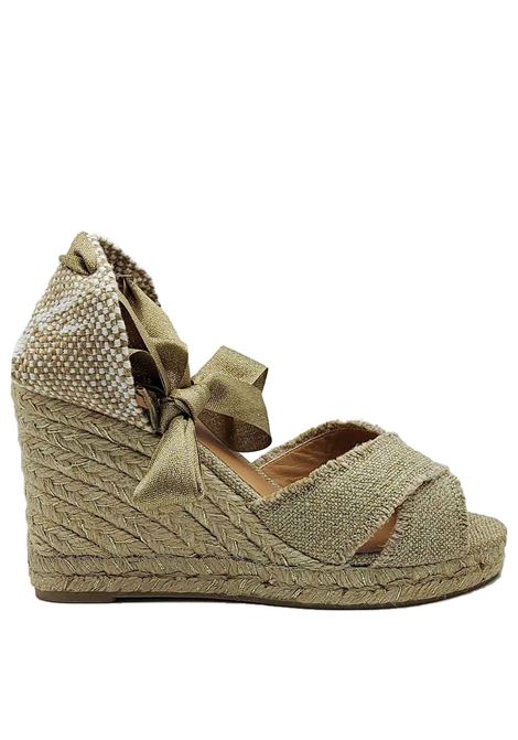 Women's Shoes Sandals Espadrilles in Gold Lamé Canvas with Ankle Laces and High Rope Wedge Castaner | Sandals | BLUMA602