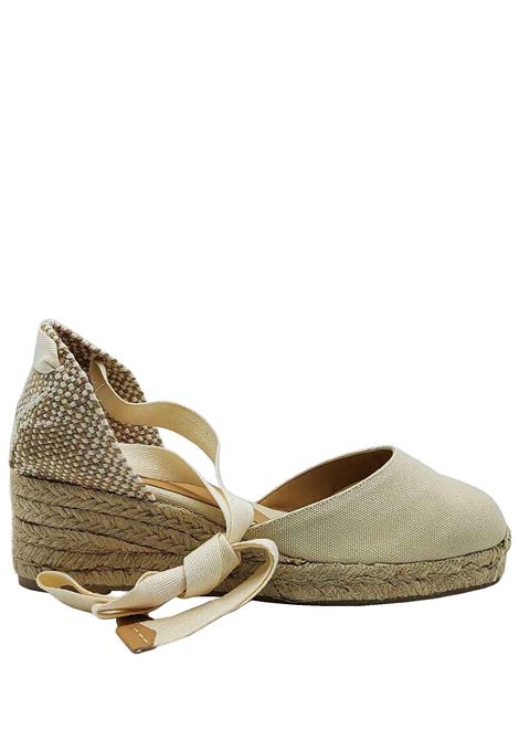 Women's Shoes Beige Canvas Espadrilles Sandals with Closed Toe Ankle Laces and Low Rope Wedge Castaner | Sandals | CARINA016