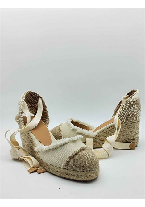 Women's Shoes Sandals Espadrilles in Beige and Cream Canvas with Laces at the Ankle Closed Toe and Low Wedge in Rope Castaner | Sandals | CATALINA016