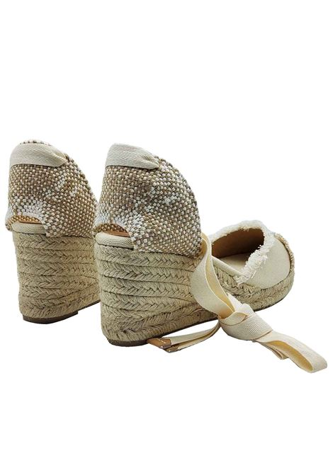 Women's Shoes Sandals Espadrilles in Beige and Cream Canvas with Laces at the Ankle Closed Toe and Low Wedge in Rope Castaner | Wedge Sandals | CATALINA016