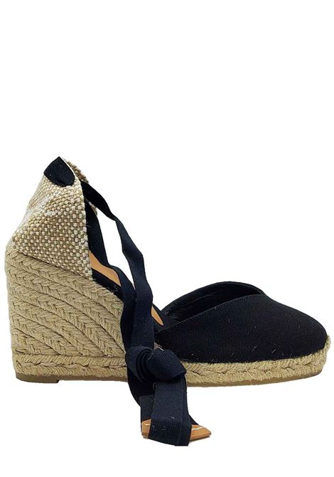 Women's Shoes Sandals Espadrilles in Black Canvas with Laces at the Ankle Closed Toe and High Wedge in Rope Castaner | Sandals | CHIARA001