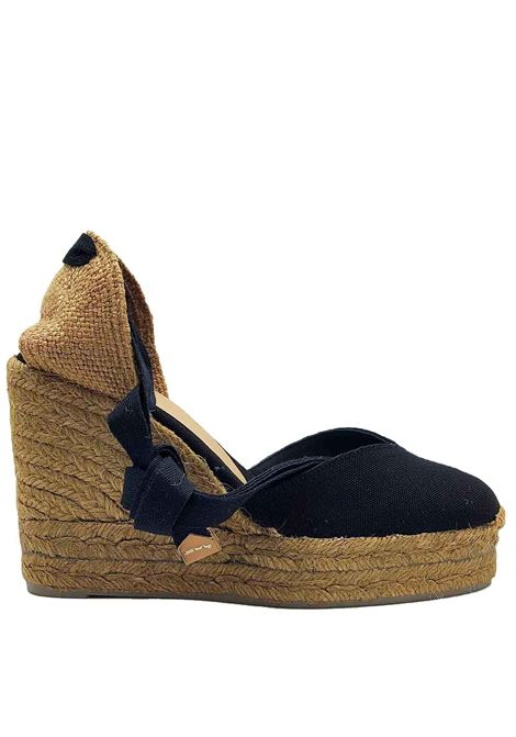 Women's Shoes Sandals Espadrilles in Black Canvas with Laces at the Ankle Closed Toe and High Wedge in Dark Rope Castaner | Sandals | CHIARA001B