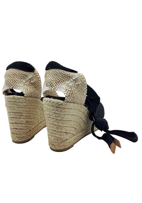 Calzature Donna Sandali Espadrilles in Tela Nera con Laccetti alla Caviglia Punta Chiusa e Zeppa Alta in Corda Castaner | Sandali Zeppa | CHIARA001