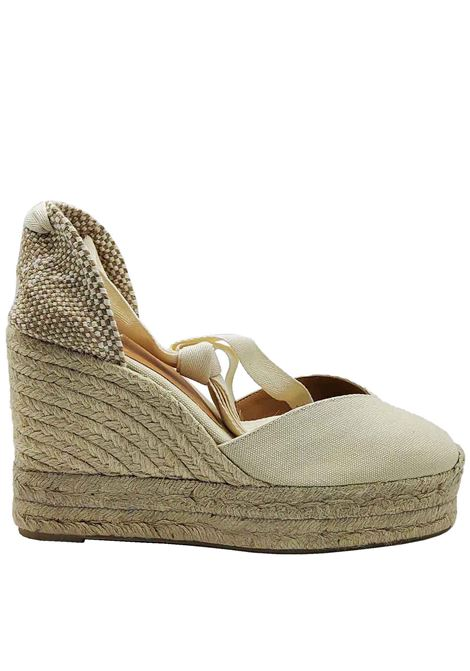 Women's Shoes Sandals Espadrilles in Cream Canvas with Laces at the Ankle Closed Toe and High Wedge in Rope Castaner | Sandals | CHIARA016