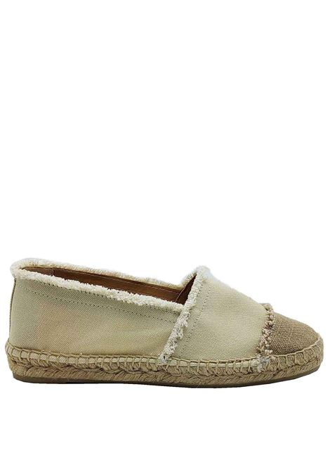 Women's Shoes Sandals Espadrilles Moccasins in Cream and Beige Canvas with Low Rope Bottom Castaner | Sandals | KAMPALA016