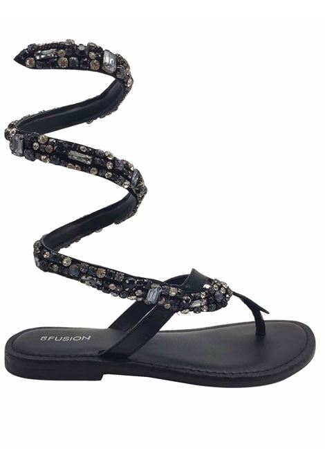 Women's Shoes Sandals Thong Low Wrap Up in Black Leather with Strap of Studs and Stones Coral Blue | Flat sandals | 1012001