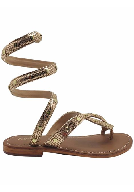 Women's Shoes Sandals Thong Low Wrap Up in Gold Printed Leather and Strap with Studs Coral Blue | Flat sandals | 101702