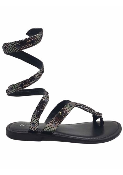 Women's Shoes Sandals Thong Low Wrap Up in Gunmetal Printed Leather and Strap with Studs Coral Blue | Flat sandals | 1017605