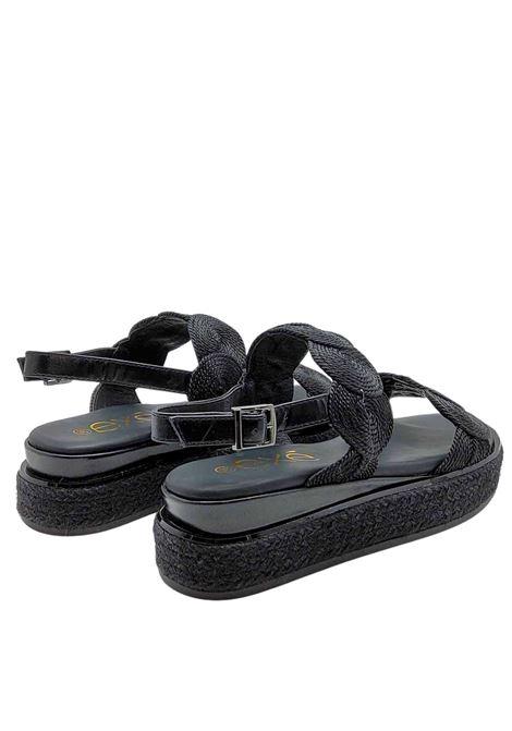 Calzature Donna Sandali in Tessuto Nero con Cinturino Posteriore e Zeppa in Corda Exe | Sandali Zeppa | 2057001