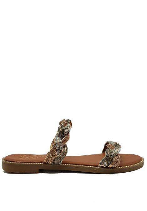 Women's Shoes Low Sandals with Double Gold and Silver Chain and Rubber Sole Exe | Flat sandals | 3374604