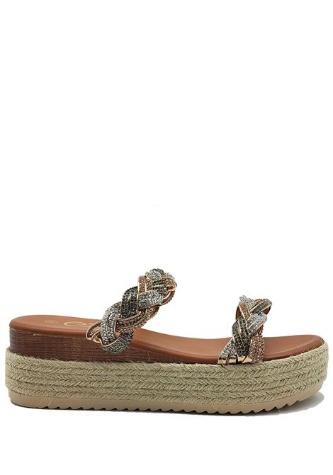 Women's Shoes Barefoot Sandals in Eco Leather with Double Braid of Multicolored Strass and Rope Wedge Exe | Wedge Sandals | 3584604