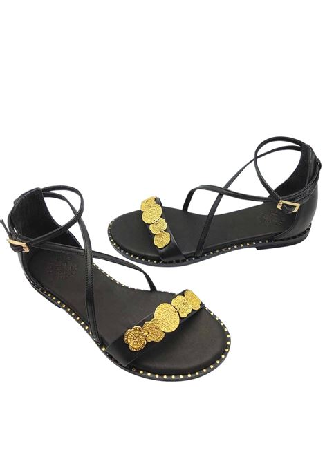 Women's Shoes Low Sandals in Black Leather with Gold Accessory Ankle Strap and Closed Heel Exe | Flat sandals | 603001