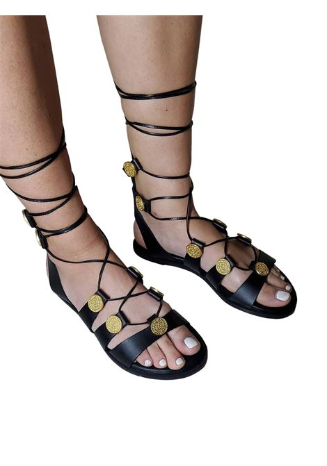 Women's Shoes Slave Flat Sandals in Black Leather with Gold Accessories and Leather Laces Exe | Flat sandals | 611001