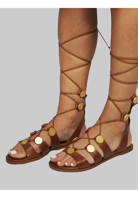 Women's Shoes Slave Flat Sandals in Tan Leather with Gold Accessories and Leather Laces Exe |  | 611014