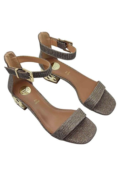 Women's Shoes Sandals in Champagne Color Glitter Fabric with Jewel Heel and Ankle Strap Exe   Sandals   624607